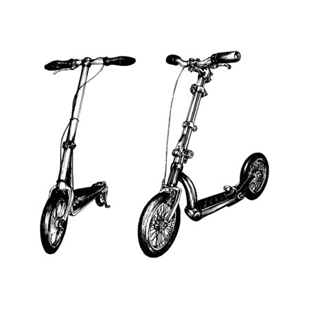 Vector illustration of push scooters. 矢量图像