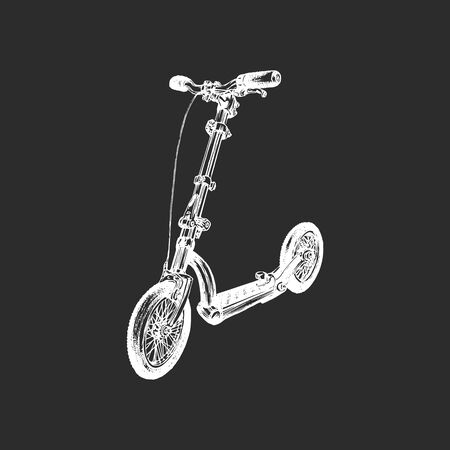 Vector illustration of push scooter. Çizim