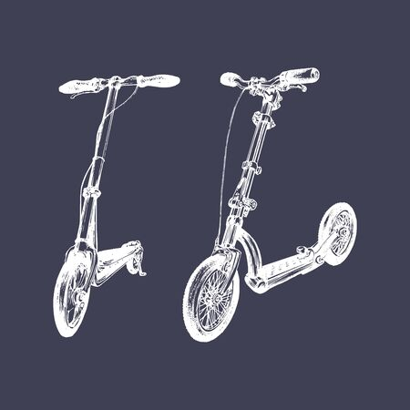 Vector illustration of push scooters. Ilustracja