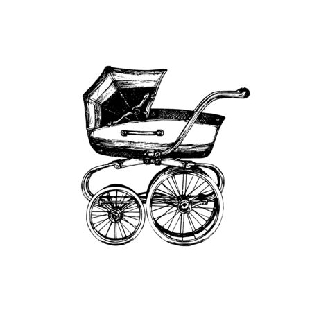 Baby carriage vector illustration on white Foto de archivo - 131910499
