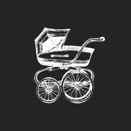 Baby carriage vector illustration on black Ilustrace