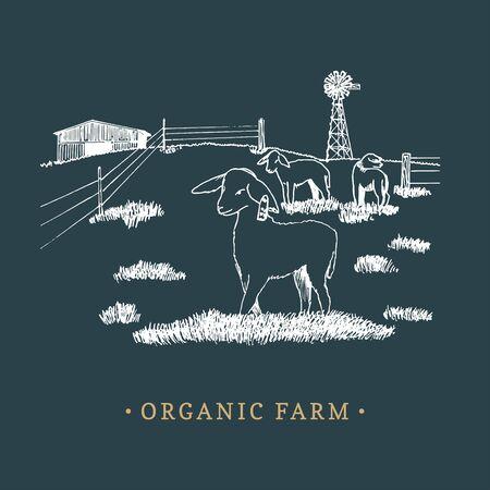 Organic farm vector illustration. Sketched drawing of rural landscape for farm logotype, eco food sign, vintage sticker.