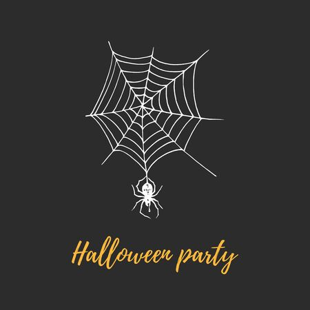 Halloween party, hand lettering. Vector illustration of a spider on its web. Design concept for party invitation,poster. Foto de archivo - 131910504