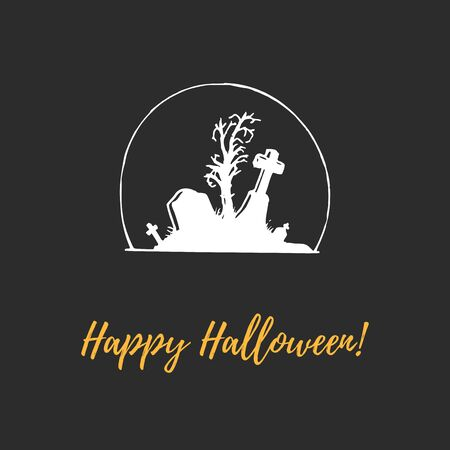Happy Halloween, hand lettering. Vector illustration of tombstones. Design concept for party invitation, poster.