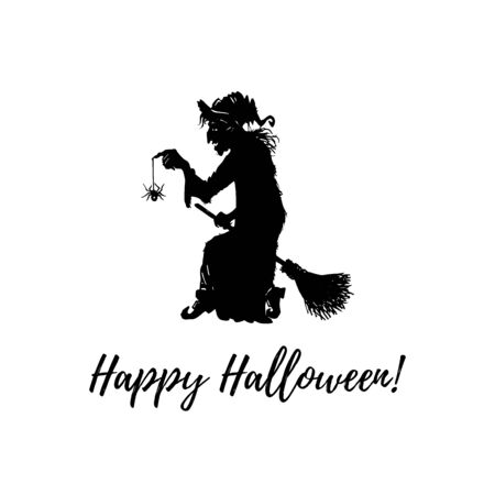 Happy Halloween, hand lettering. Vector illustration of witch with spider and broom.Design concept for party invitation.
