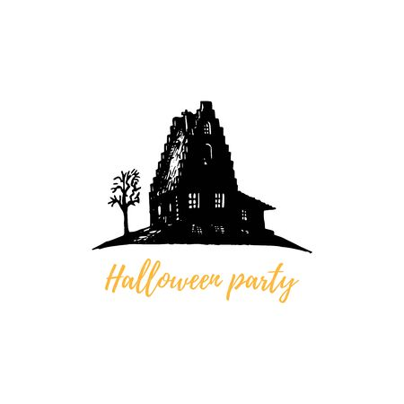 Halloween Party, hand lettering. Vector illustration of sinister house with ghosts. Design concept for party invitation, greeting card, poster. Ilustrace