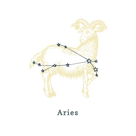 Zodiacal constellation of Aries of drawn symbol in engraving style. Ilustrace