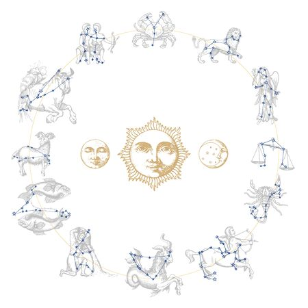 Zodiac constellations with drawn astrological symbols in engraving style.