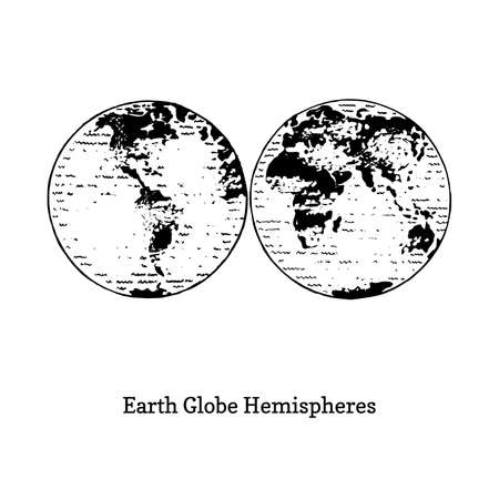 Illustration of Earth globe hemispheres. Ilustrace