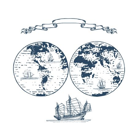 Graphic illustration of Earth globe hemispheres and sailing vessels in vector. Ilustrace
