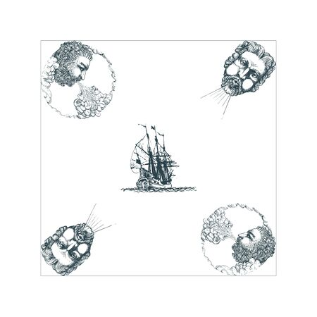The Anemoi, Gods of winds and old sailing ship hand drawn in engraving style.