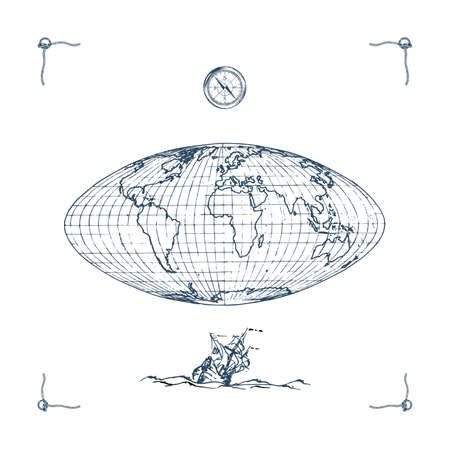 Earth globe map illustration.