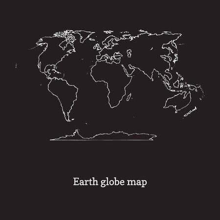 Graphic illustration of Earth globe map on black backgound. Hand drawn continents contour in vector. Ilustrace