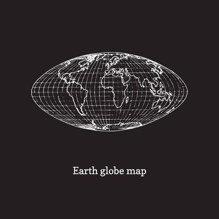 Earth globe map illustration on black background. Drawn sketch in vector.
