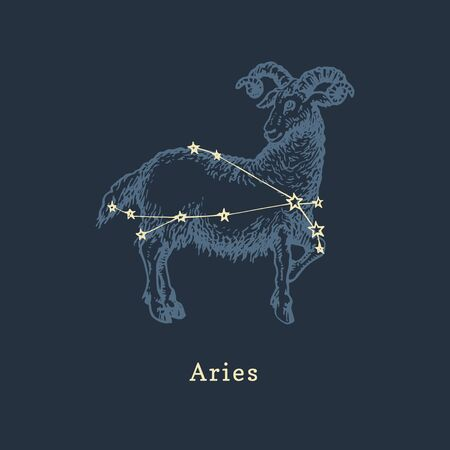 Zodiac constellation of Aries in engraving style. Vector retro graphic illustration of astrological sign Ram. Illustration