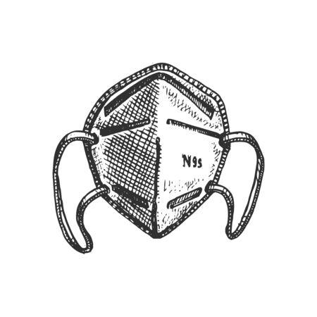A medical face mask, graphic illustration. Hand sketch of N95 respirator. Ilustrace