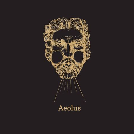 Aeolus, God keeper of the winds hand drawn in engraving style. Vector illustration of astrological deity Astraeus.