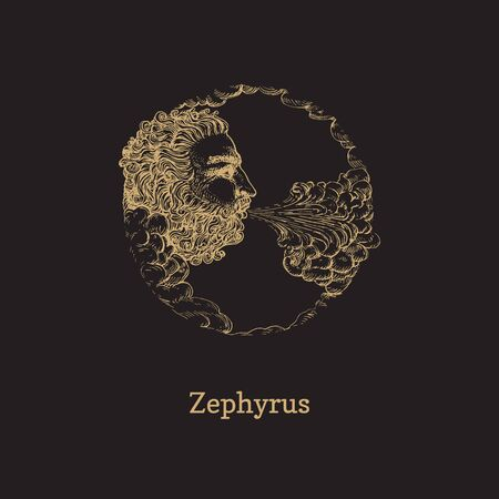 Zephyrus, west wind hand drawn in engraving style. Vector graphic illustration of mythological deity on black background