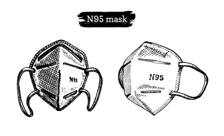 A set of medical masks, graphic illustration. Hand sketches of N95 respirators in vector. Ilustrace