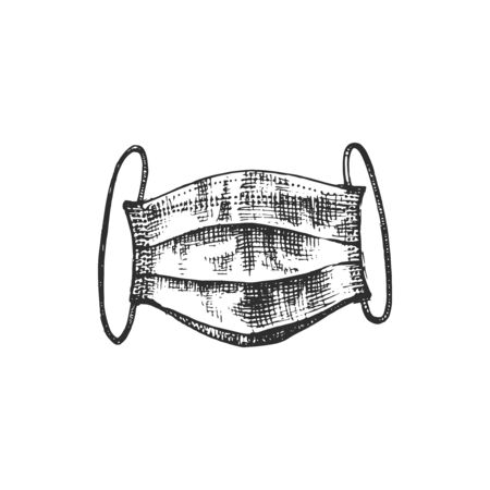 A face mask, graphic illustration in vector. Hand sketch of protective medical wear.