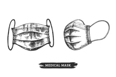 A set of face masks, graphic illustration. Hand sketches of medical wear in vector.