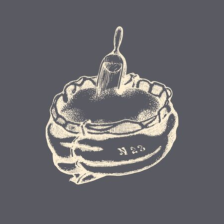 The illustration of a grain sack with a scoop in vector. Drawn miller bagful in the engraving style.