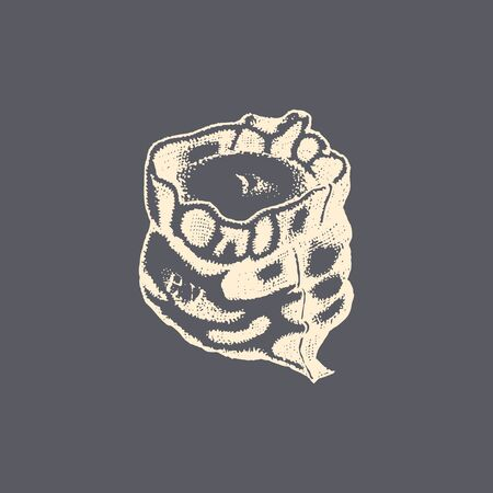 The illustration of a flour or grain sack in vector. Drawn miller bagful in the engraving style