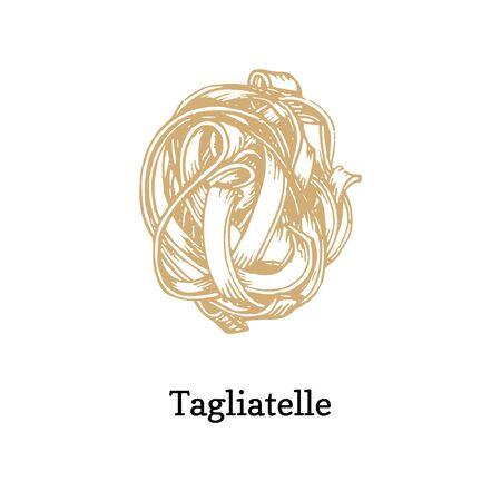 Tagliatelle, graphic illustration in vector. Ilustrace