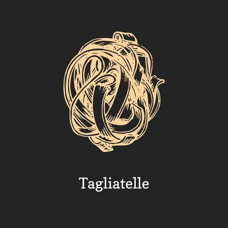 Tagliatelle, graphic illustration in vector. Hand drawn pasta on black background Ilustrace