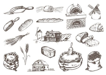Graphic illustrations of miller stuff in vector. Hand drawn set of bakery and pastry goods in engraving style. Ilustrace