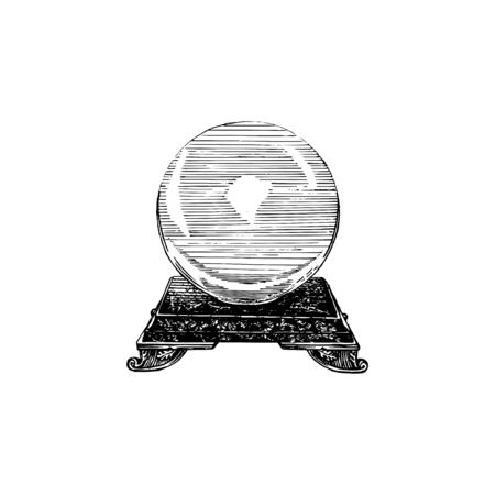 Magical crystal sphere, vector illustration in engraving style. Vintage pastiche of mystical symbol. Drawn sketch. Stock Illustratie