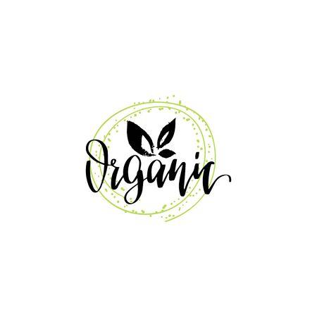 Eco, organic food logo. Healthy farm sign vector illustration. Tag for products packaging of market, restaurants etc. Reklamní fotografie - 146990791