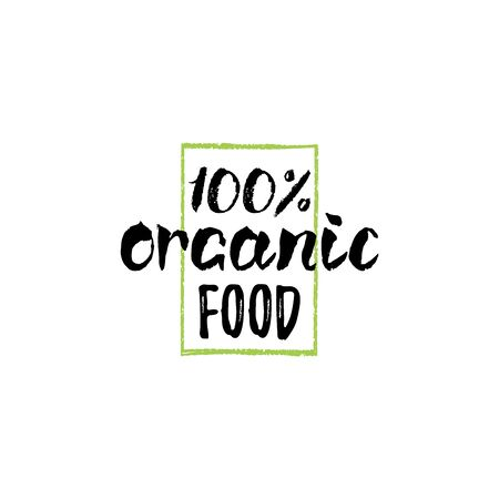 Eco, organic food logo. Healthy farm sign vector illustration. Tag for products packaging of market, restaurants etc.