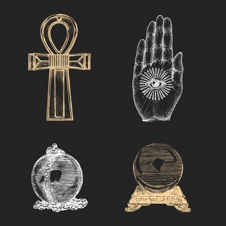 Mysterious and occult things,vector illustration in engraving style. Magical symbols set.Sketches of esoteric artefacts.