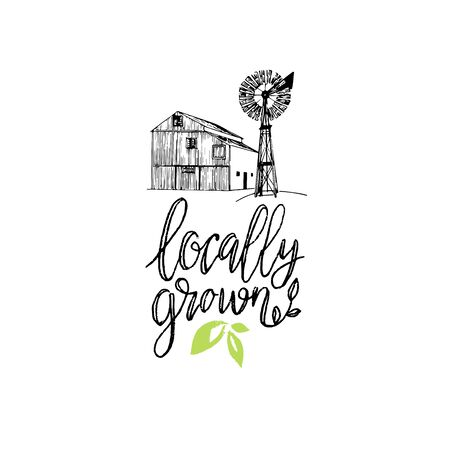 Healthy farm vector illustration. Locally Grown hand lettering. Eco, organic food logo. Tag for products packaging.