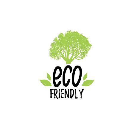 Organic food logo. Eco Friendly hand lettering. Healthy farm sign vector illustration. Tag for products packaging.  イラスト・ベクター素材