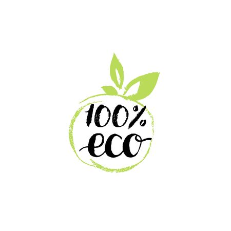 100 percents Eco hand lettering. Organic food logo. Healthy farm sign vector illustration. Tag for products packaging.