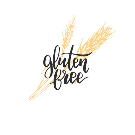 Eco, organic food logo. Gluten Free hand lettering. Healthy farm sign vector illustration. Tag for products packaging.