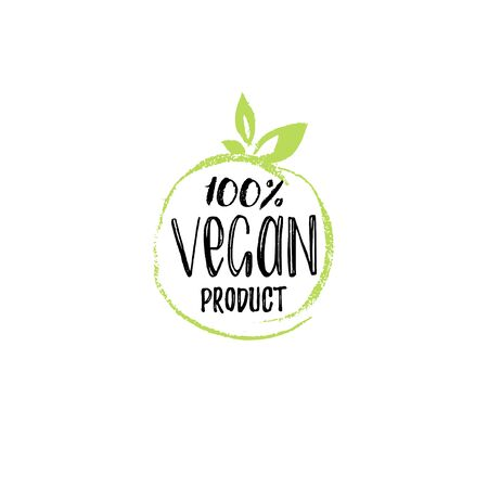 Eco, organic food logo. 100 percents Vegan Product hand lettering. Healthy farm sign vector illustration.