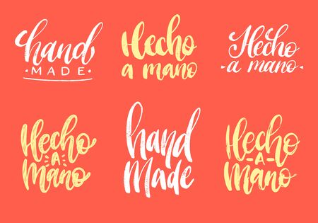Set of Hecho A Mano calligraphy, spanish translation of Handmade phrase. Hand lettering in vector on red background.  イラスト・ベクター素材