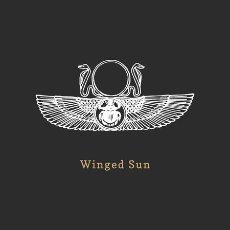 Winged Sun, vector illustration in engraving style.