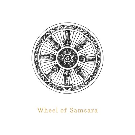 Samsara, Wheel of Life, vector illustration in engraving style.  イラスト・ベクター素材