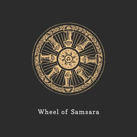 Samsara, Wheel of Life, vector illustration in engraving style