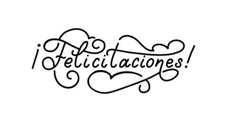Felicitaciones hand lettering, spanish translation of Congratulations phrase.  イラスト・ベクター素材