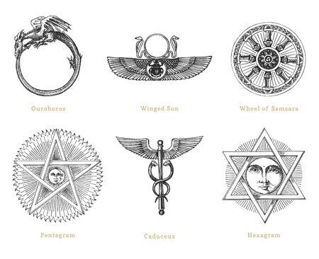 Drawn sketches of mystical symbols. Set of vector illustrations. Vintage pastiche of esoteric and occult signs.  イラスト・ベクター素材