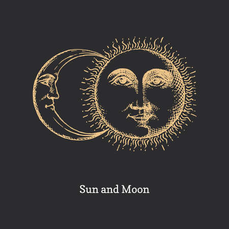 Sun and Moon, hand drawn in engraving style.Vector  イラスト・ベクター素材