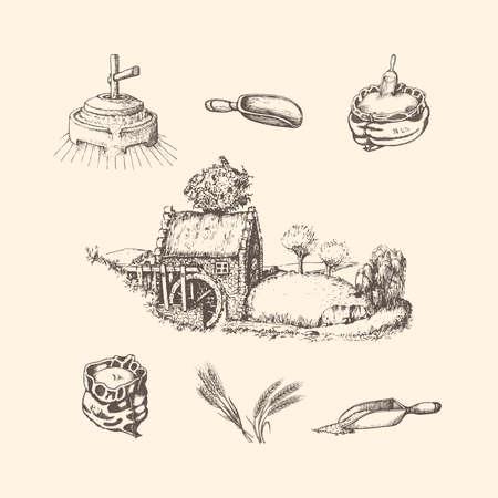 Illustrations of mill stuff.Sketches of rural life Vecteurs