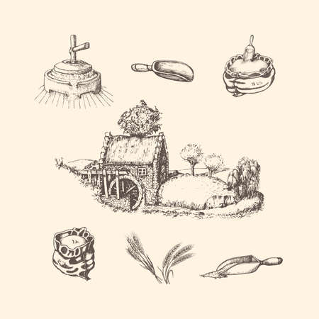 Illustrations of mill stuff.Sketches of rural life  イラスト・ベクター素材