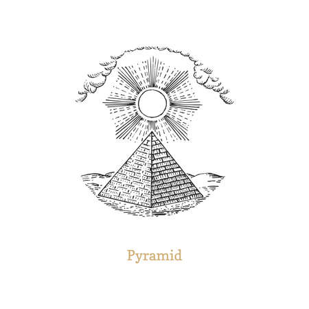 Drawn Pyramid, vector image in engraving style.  イラスト・ベクター素材