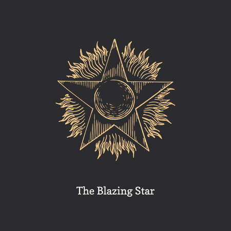 The Blazing Star drawing in vector. Masonic sign.